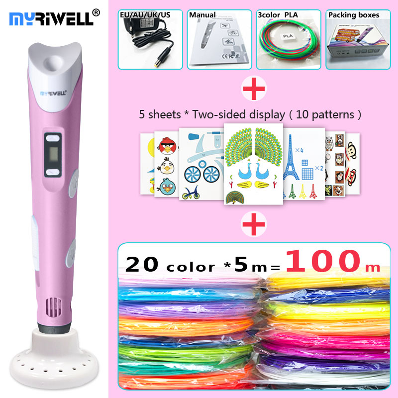 myriwell 3d pen 3d pens,LED display,20x5m ABS/PLA Filament,Add special brackets to protect hands3 d pen-3d magic pen 3d model myriwell 3d pen 3d pens add 200m 20color abs filament 3d print pen 3 d pen 2018 diy child birthday present graffiti pen