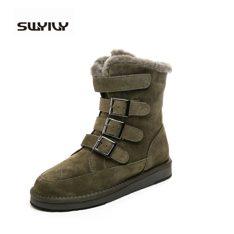 SWYIVY Genuine Leather High Top Winter Fur Ankle Boots 2017 Army Green Middle Tube Snow Boots Women Female Warm Leather Shoes hasky 8002 outdoor mountaineering matte top leather ankle shoes army green black pair 42