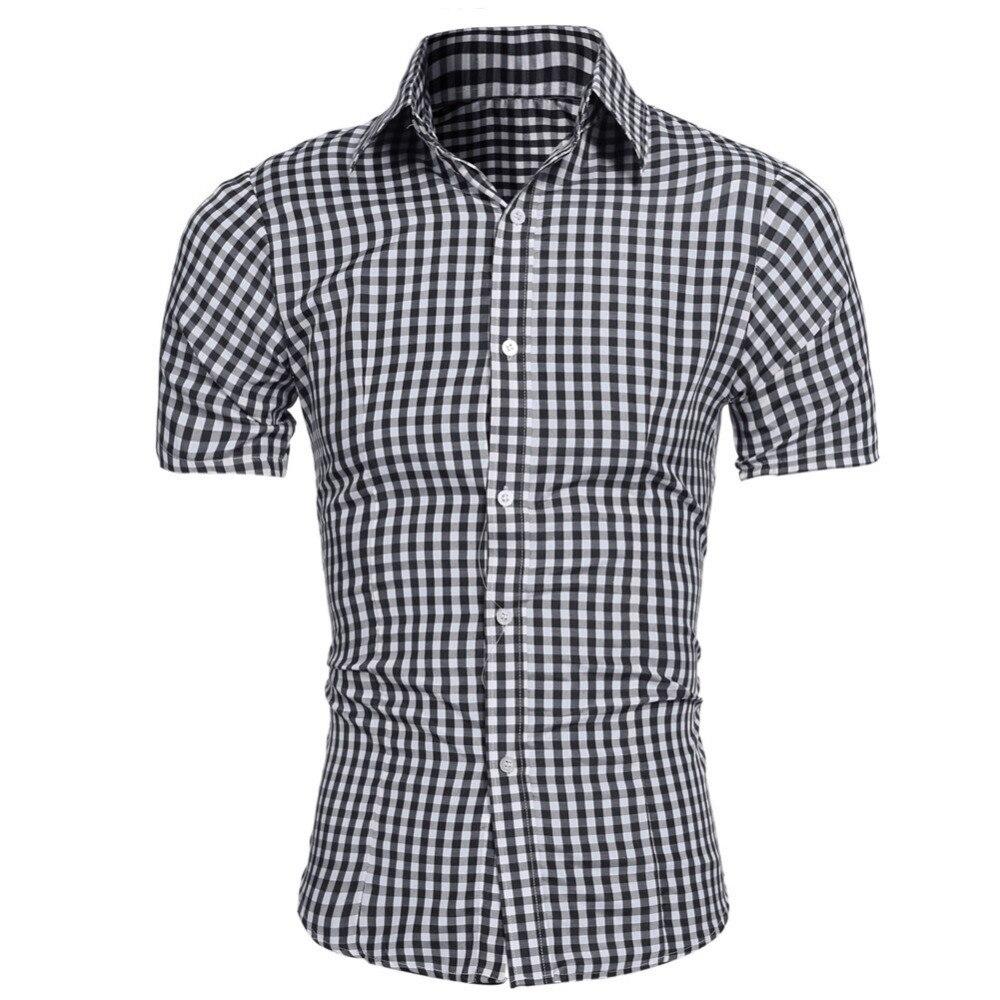 Men Plaid Shirt 2018 Brand New Man summer short Sleeve Shirt Slim Fit Style Youth Office Business Casual Shirt Camisa Masculina