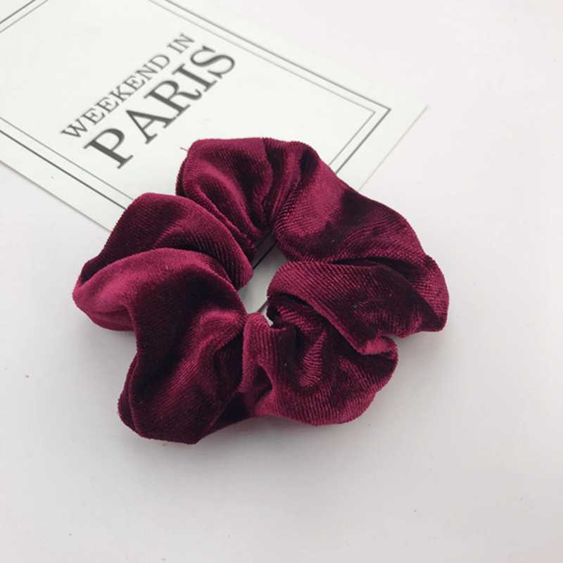 Solid Lady Hair Scrunchies Ring Elastic Hair Bands Pure Color Bobble Sports Dance Velvet Soft  Scrunchie Hairband