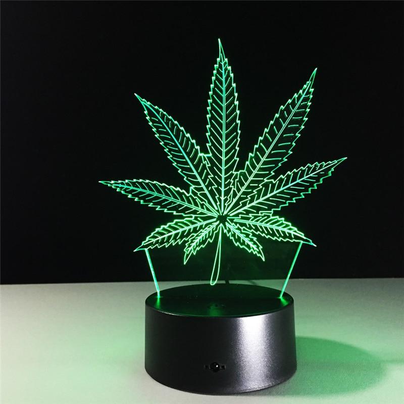 Acrylic 7 Color Changing leaf 3D LED nightlight of bedroom lamp livingroom lights desk table Decor Night Light Kid Gift