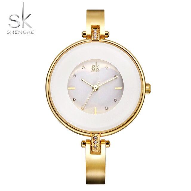ShengKe Luxury Gold Women Watches Minimalism Fashion Stainless Steel Lady's Golden Bracelet Watch Wristwatch Female Gift Clock