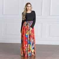 S 4XL 5XL 6XL Autumn Dress Printed Floral Bohemian Floor Length Robe Femme Vestido Long Sleeve