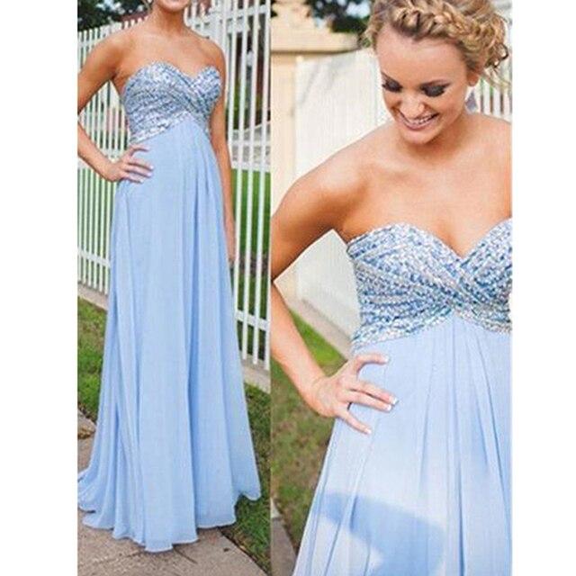 Beautiful Strapless Beaded Chiffon Evening Dress Empire Light Blue