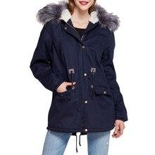d0ae4811bac ISHOWTIENDA Новая женская зимняя флисовая с длинным рукавом с капюшоном  уличная ветровая теплая куртка на молнии