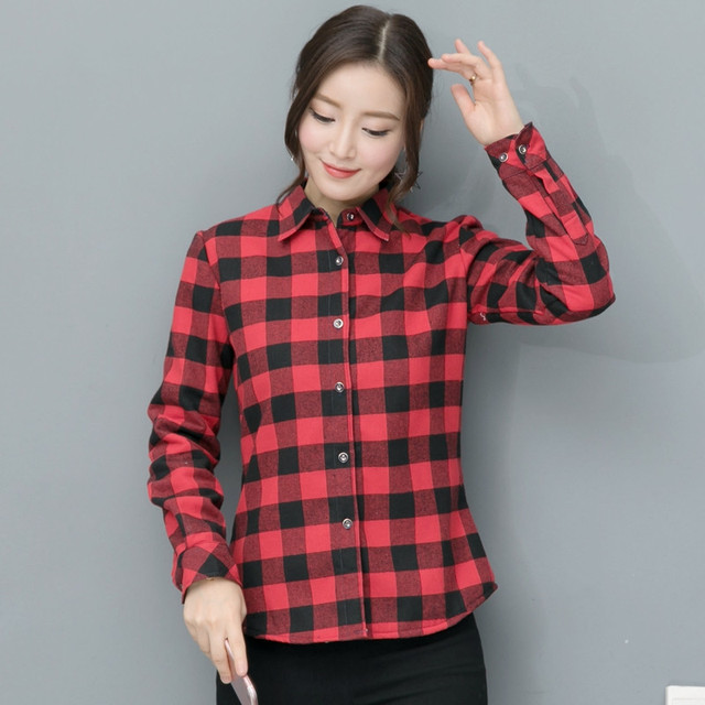 2019 New Brand Plaid Shirt Female College Style Women's Blouses Long Sleeve Flannel Shirt Plus Size Cotton Blusas Office Tops Women Shirts