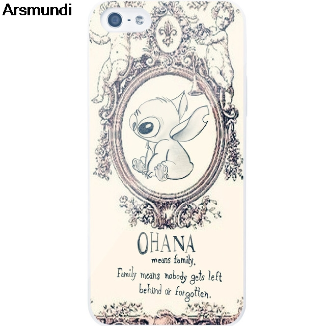 Arsmundi Cute funny and OHANA Phone Cases for iPhone 4S 5C 5S 6S 7 8 Plus X for Samsung S8 9 NOTE Case Soft TPU Rubber Silicone