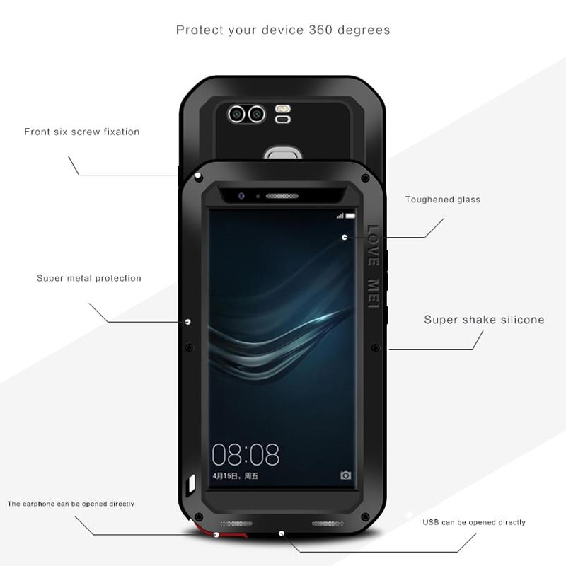 Цена за P9 Плюс Любовь Мэй Броня Чехол Водонепроницаемый Чехол для Huawei P9 Плюс Fundas Корпус Вода/Грязь/Шок доказательство Дождь Доказательство Капа