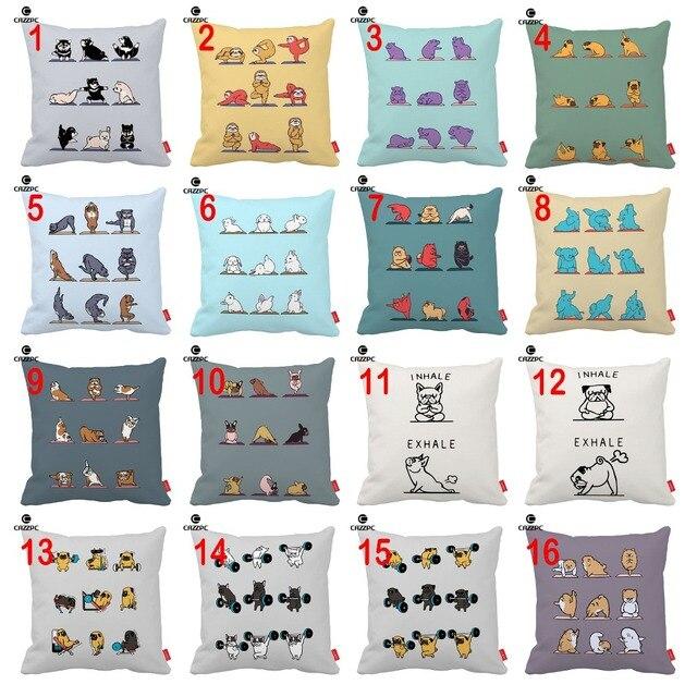 rabbit pug dog hippo yoga gym animal print cushion cover decorative pillowcase pillow case sofa home