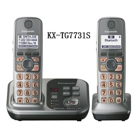 2 Трубок KX-TG7731S Цифровой беспроводной телефон DECT 6.0 Ссылка на Мобильный через Bluetooth Беспроводной телефон с автоответчиком