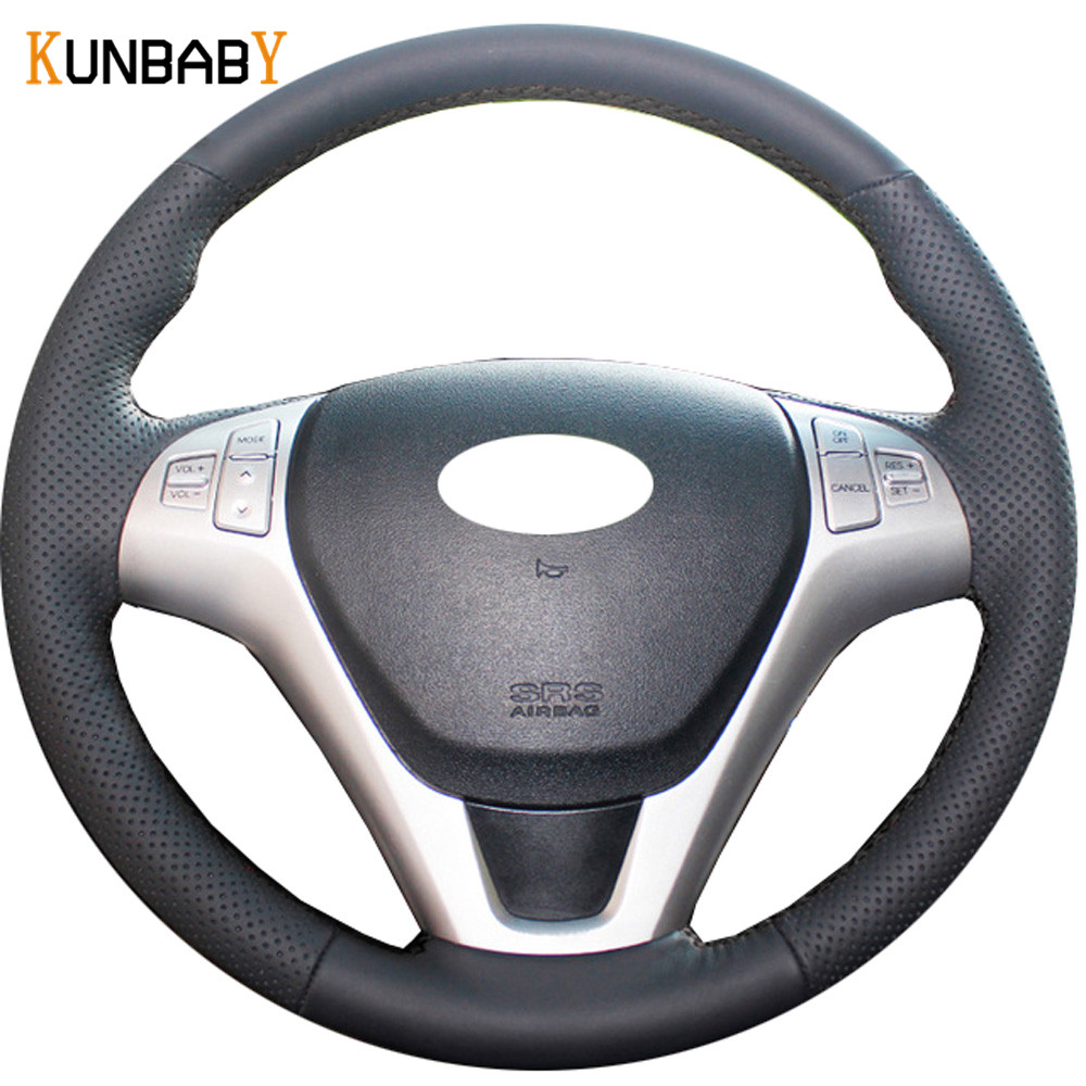 KUNBABY Car Styling Black Genuine Leather Car Steering Wheel Cover for Hyundai Rohens Coupe 2009 Rohens Coupe Car Accessories