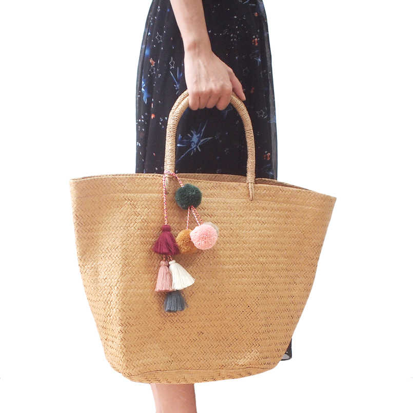 MANILAI Bohemian Handmade Saco Pingente Mulheres Charme Pompom Multicolor Borlas de Algodão Grande Saco de Bola Acessórios de Moda