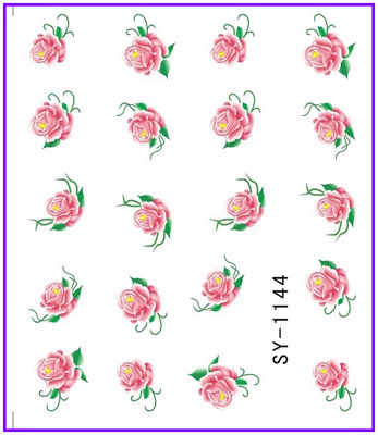 6 PACK/ LOT  GLITTER WATER DECAL NAIL STICKER FLOWER CRAPE MYRTLE FORGET-ME-NOT SY1143-1148