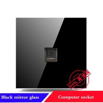 EU France Germany UK socket Full set of 86 type 1 2 3 4 gang 1 2way black mirror glass wall switch LED light switch Industry 9