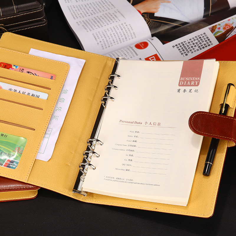 A5 Business Office School Loose-leaf Planner Notebook Thicken Meeting Leather Filofax Folder Agenda 2019 2020 Planner Organizer