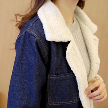 Han edition 2017 fashion women tops Denim fabrics of high thermal lambs wool  women coat Long sleeve nirvana trench coat xf010 8