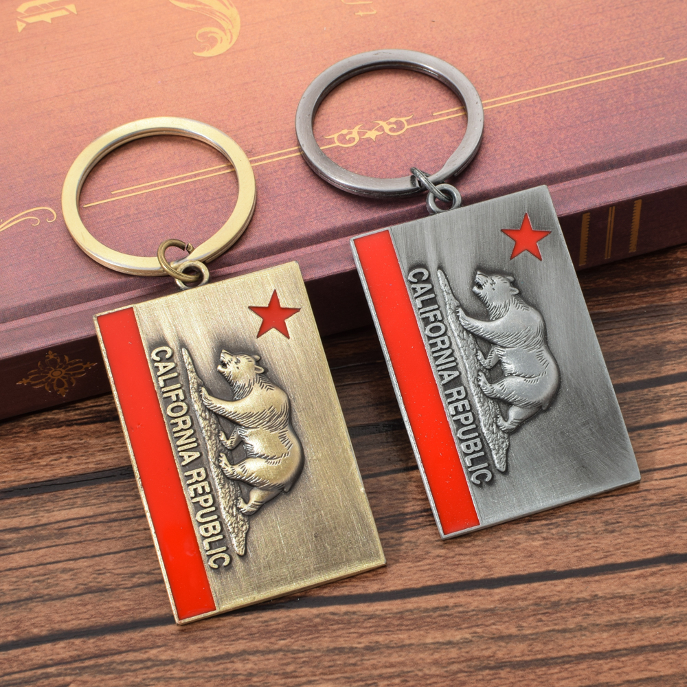 Vicney California State Flag Key Chain Antique Copper Keychain For Men Zinc Alloy Antique Silver Grizzly Bear Key Chain For Key