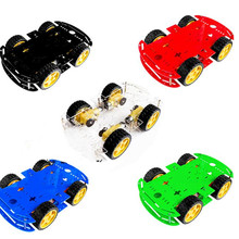 4WD Smart car 4 wheel drive power foot chassis strong magnet motor with code plate double layer board
