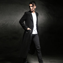 M-4XL!!2016 Long design trench slim spring and autumn men's clothing lengthen du