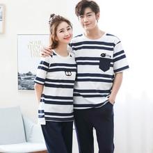 Summer Short Sleeve Cat Pyjamas Lovers 100%Cotton Couple Pajama Sets Women/Men Sleepwear Striped Nightgown Big Size Home Clothes