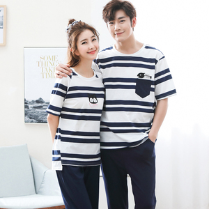 Image 1 - Summer Short Sleeve Cat Pyjamas Lovers 100%Cotton Couple Pajama Sets Women/Men Sleepwear Striped Nightgown Big Size Home Clothes