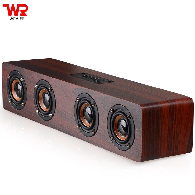 WPAIER W8 haut-parleur Bluetooth sans fil extérieur haut-parleurs HiFi portables choc basse rétro haut-parleur en bois Support AUX Play/TF Card