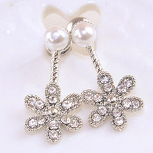 ФОТО earings time-limited trendy brincos 2018 pearl flower grape drop earrings fashion six angle leaf new jewelry rose color earring
