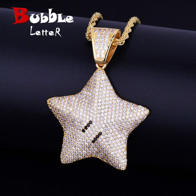 Cartoon Star Pendant Necklace Chain Charms Bling Cubic Zircon Mens Hip hop Jewelry Tennis Chain For Gift