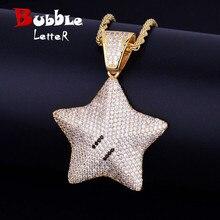 Gwiazda kreskówki naszyjnik łańcuch Charms Bling Cubic cyrkon męski hip hop biżuteria łańcuch tenisowy na prezent