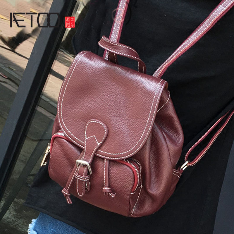 AETOO New Korean version of the retro sweet mini flip leather shoulder bag personalized belt buckle small backpack fashion handb-in Backpacks from Luggage & Bags    1