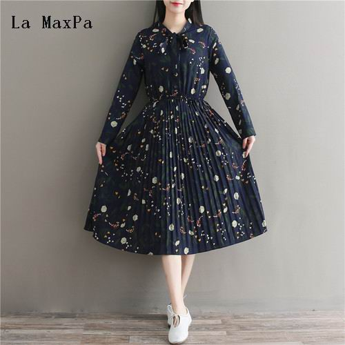Mori Girl Sweet Dress 2018 New Spring Summer Flowers Vestidos Women Full Sleeve Floral Print Long Chiffon Pleated Dresses girl