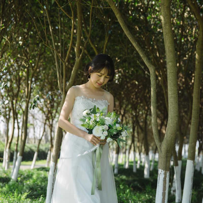 Janevini Elegan Pengantin Putih Mawar Buket Bunga untuk Bridesmaid Bunga Pengantin Pernikahan Karangan Bunga Buatan Sutra Bunga Fleur Mariage