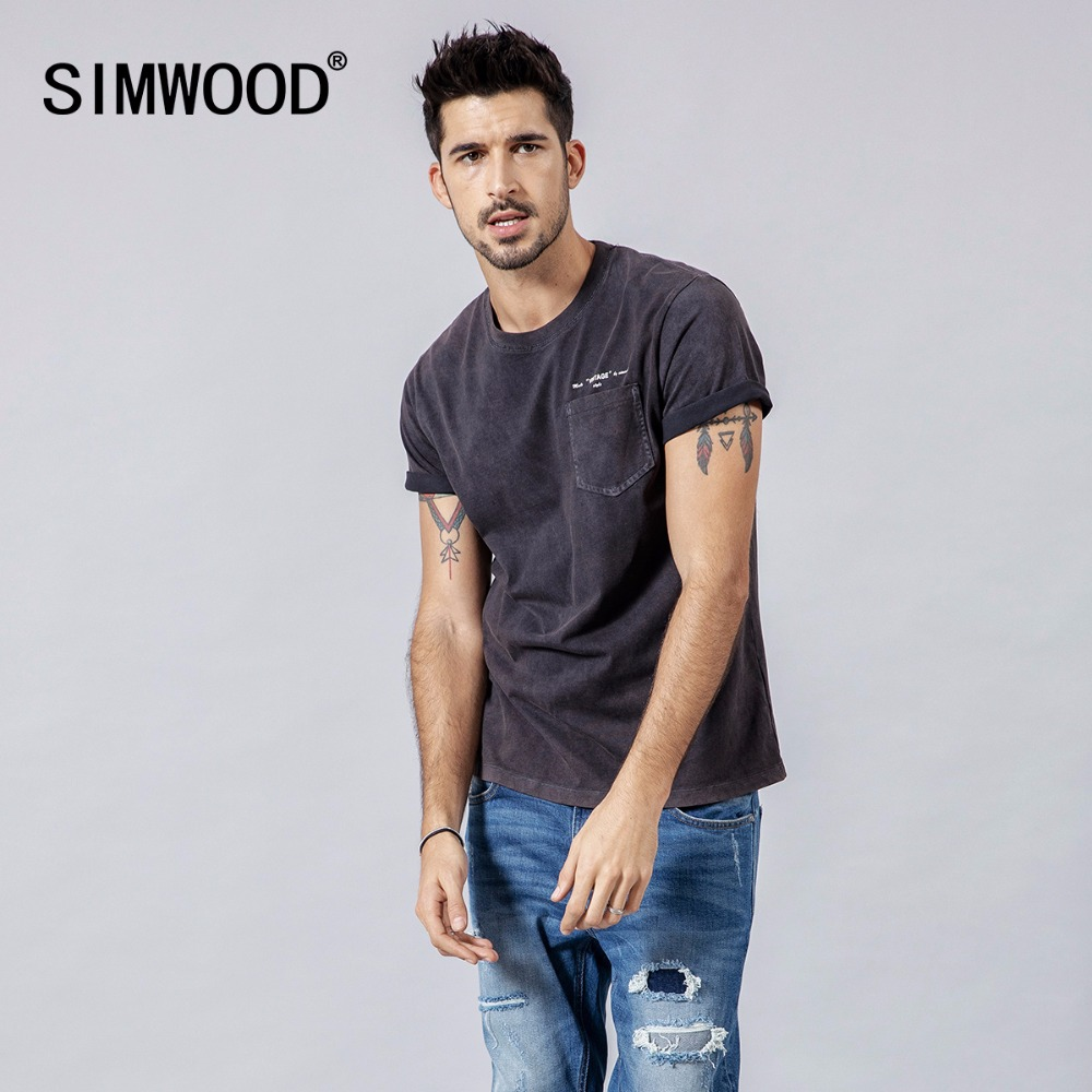 SIMWOOD 2019 Summer New   T     shirts   Men Casual Vintage Men   t  -  shirt   100% Cotton Tops High Quality Brand Clothing Tees 190126