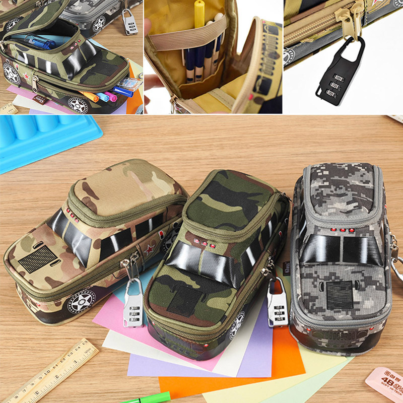 Large Creative SUV Style Pencil Case Camouflage Zipper Canvas Pen Bag With Lock For Boys Student pencil case vehicle pen pouch bag with combination lock boys double zipper camouflage canvas large school pencil box military