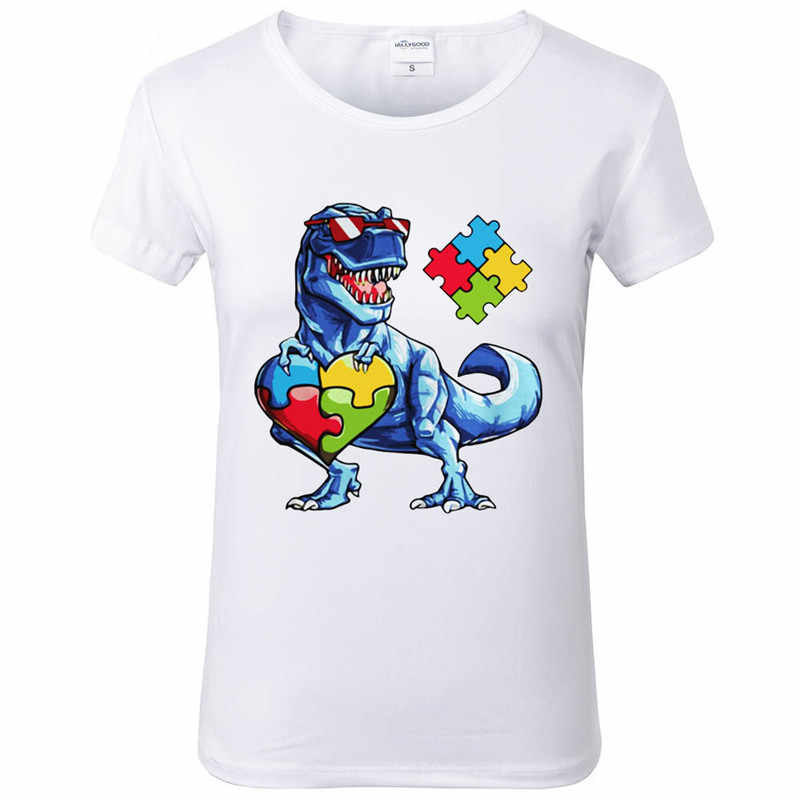 c558c1a41 Autism Awareness Dinosaur Puzzle Piece T Shirt women Funny Printed T Shirts  O neck Soft Short