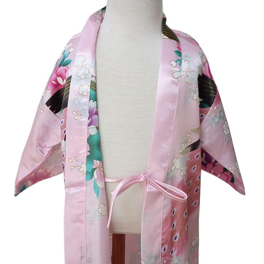 80-160cm Kids Girls Kimonos Dress Knee-length Satin Bath Robes Japanese Traditional Costumes Vintage Sleep Pajamas Nightgown