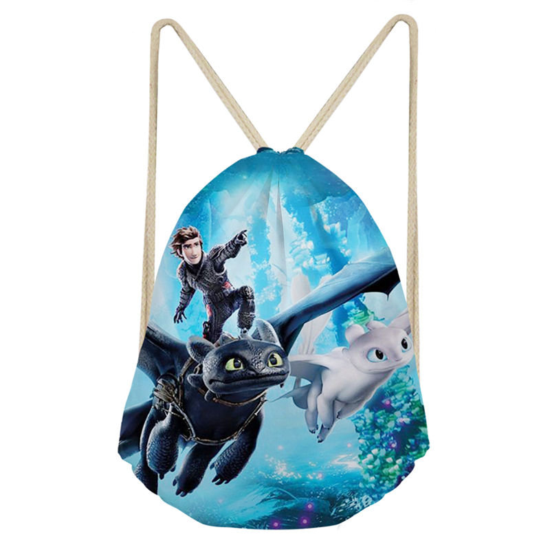 THIKIN How To Train Your Dragon Prints Woman Girl Drawstring Bag Polyester Fashion School Shoulder Bag Travel Teenagers Mochila