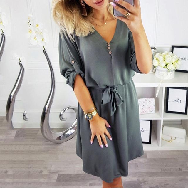 Women Casual Elegant Sashes Button Party Dress Half Sleeve Sexy V neck A-line Mini Vintage Dress 2019 Summer New Fashion Dress