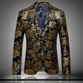 Chaqueta Para Los Hombres Hombres Chaqueta Bordada de Oro de lujo Vestido de Novia Formal de Traje Blazers Trajes de la Etapa