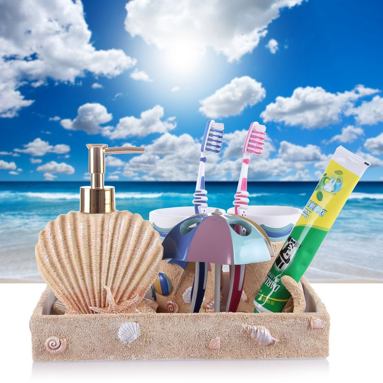 Five pieces set of bathroom wash set bathroom supplies kit fashion with teeth shukoubei resin in Bathroom Accessories Sets from Home Garden