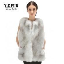 2016 New Arrival Luxury Women Vest Winter Whole Pieces Natural Fox Fur Vests Warm Winter Fur Waistcoat Female