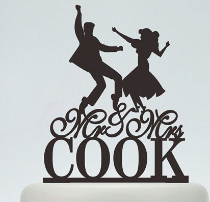 acrylic country wedding cake toppers dancing couples custom bride groom name music bridal shower party decorations