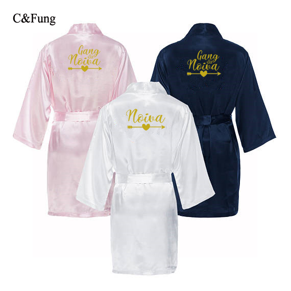C&Fung personalized Portugal noiva gang da novia robes bride to be team bride bachelor party favors robe kimono bridal gift