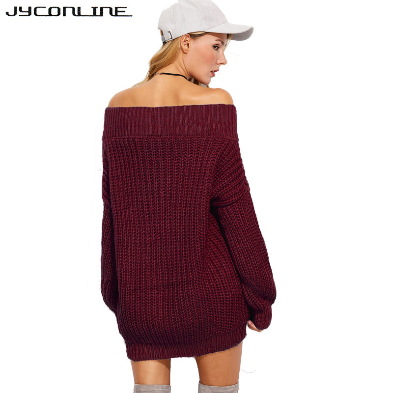 d7a42829595 US $19.24 25% OFF|JYConline Winter Warm V Neck Knitted Sweater Women Jumper  Long Sleeve Pullover Thick Sexy Off Shoulder Sweater Pull Femme Black-in ...