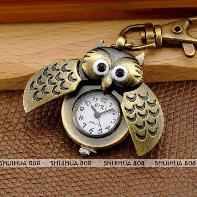 Free Shipping,Lovely Owl KEY RING CHAIN PENDANT POCKET QUARTZ WATCH,Beautiful popular gift,Q0317