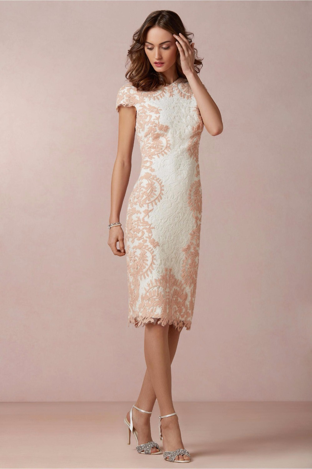 short sleeve lace mother of the bride gown knee length