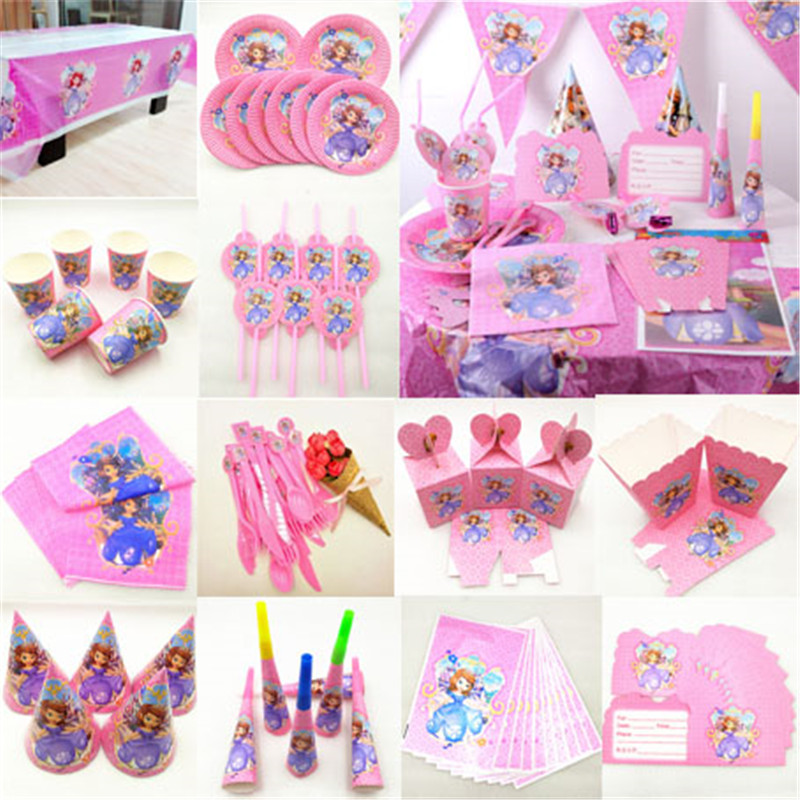 Kids Birthday Sofia Princess Party Supplies Decoration Tablecloth Cup Plate Straw Napkin Gift Bag Candles Candy Popcorn Box Card