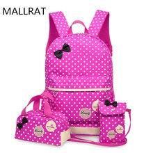 MALLRAT Rucksack Für Mädchen Jugendliche Schultaschen 3 Teile/satz Schul Große Kapazität Dot Druck Schule Rucksack Nette Buch Tasche