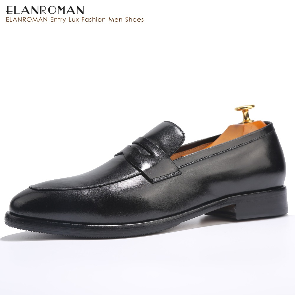 ELANROMAN Men's Wedding Shoes Penny Loafers Cow Genuine Leather Black Round Toe Slip-On Massage insoles Height Increasing 30mm elanrom summer men formal derby wedding dress shoes cow genuine leather lace up round toe latex height increasing 30mm massage