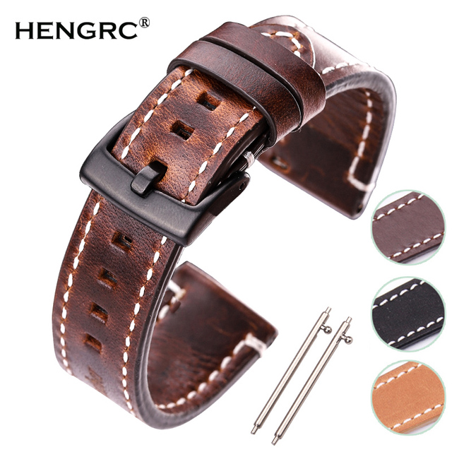 HENGRC Newest 18mm 20mm 22mm Genuine Leather Watchband Belt Manual Men Thick Bro